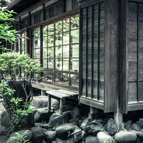 japanisches Haus Fenster Wand Architektur Mauer Gebäude Stein Garten Fassade offen Sträucher Glas Ecke Bauwerk Teilung exotisch