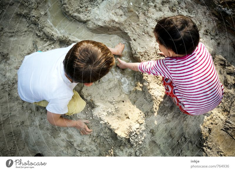 Landschaftsarchitekten Mensch Kind Ferien & Urlaub & Reisen Wasser Sommer Mädchen Strand Leben Junge Spielen Sand Freundschaft Freizeit & Hobby
