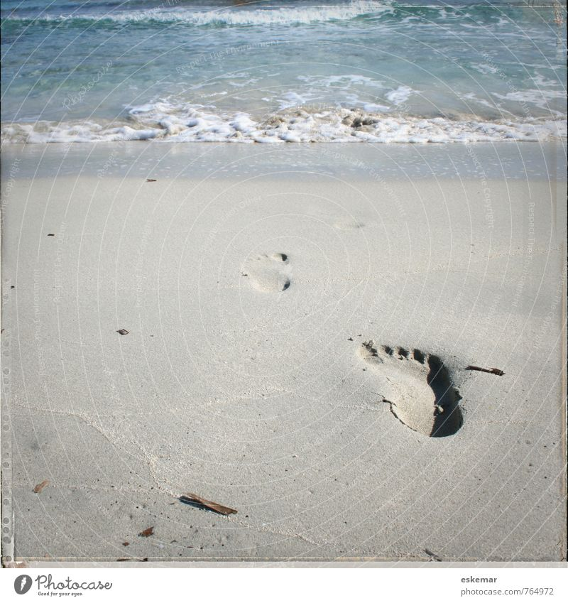 Spur Natur Ferien & Urlaub & Reisen Wasser Sommer Meer Strand Küste Sand Wellen Tourismus Insel Schönes Wetter Ausflug retro Abenteuer Spuren