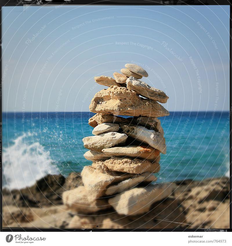 verano azul Wellness Erholung ruhig Meditation Ferien & Urlaub & Reisen Tourismus Sommer Sommerurlaub Sonne Strand Meer Insel Wellen Natur Wasser Himmel