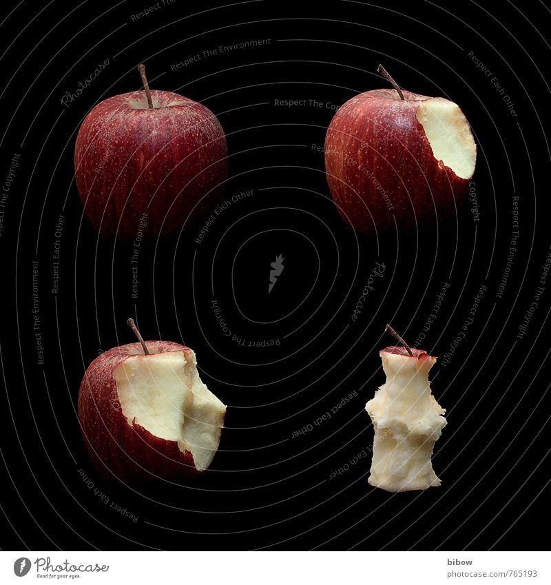 Apfelhunger Lebensmittel Frucht Ernährung Essen Vegetarische Ernährung Diät rot genießen Gesundheit Farbfoto Studioaufnahme Nahaufnahme Hintergrund neutral