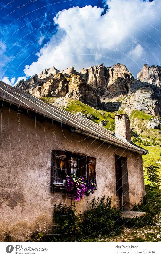Traumhütte vor Traumbergen Natur Ferien & Urlaub & Reisen alt Sommer Blume Landschaft Wolken Umwelt Berge u. Gebirge Gefühle Wiese Zusammensein Tourismus