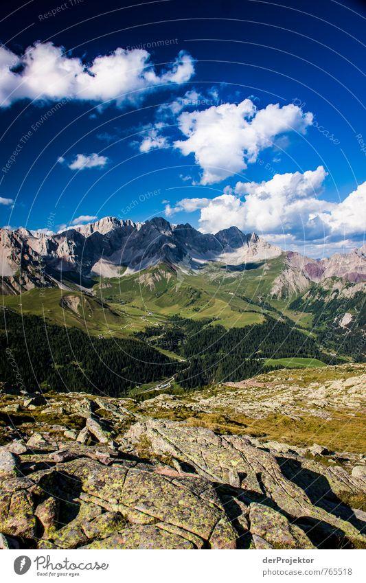 Dolomiten Vollpanorama Natur Ferien & Urlaub & Reisen Pflanze Sommer Landschaft Wolken Freude Ferne Umwelt Berge u. Gebirge Gefühle Wiese Freiheit Glück Felsen Horizont