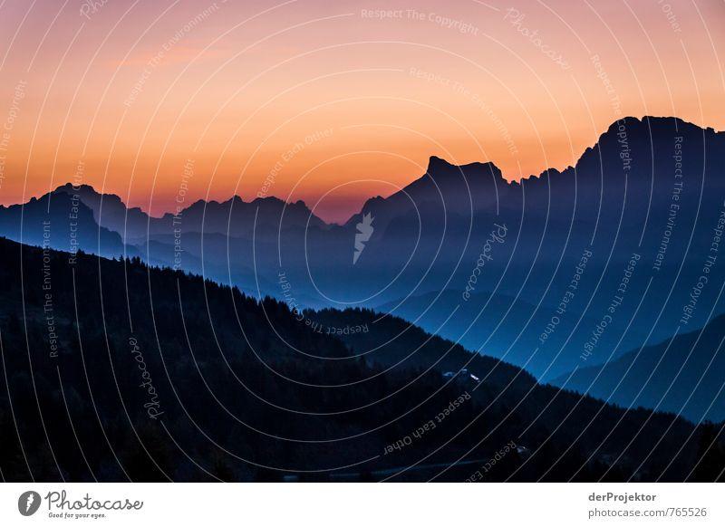 Sonnenuntergang Schwarz zu blau Ferien & Urlaub & Reisen Tourismus Ferne Freiheit Sommerurlaub Berge u. Gebirge Umwelt Natur Landschaft Urelemente
