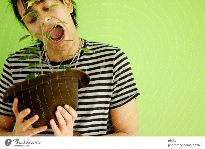 it's besser to be fleischfresser Mensch Mann grün Pflanze Gesicht Wand Mund Essen Streifen Hut Appetit & Hunger beißen Salat Vegane Ernährung