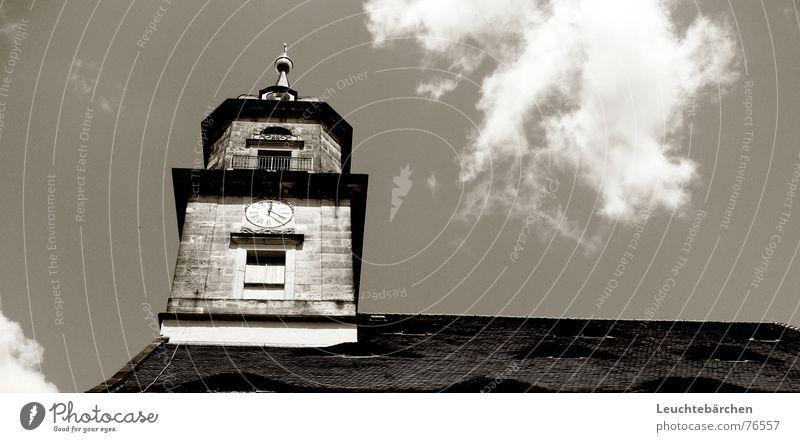 its just a kirchturm weiß schwarz Wolken dunkel Fenster Mauer hell Religion & Glaube Rücken hoch Dach Turm Uhr Kirchturm