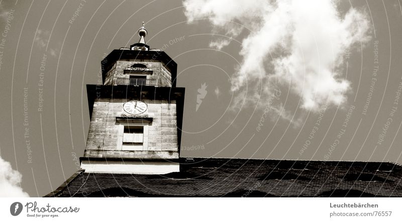 its just a kirchturm Wolken Kirchturm Uhr Dach dunkel schwarz weiß Fenster Mauer Religion & Glaube Turm Rücken hoch hell 20 nach 12