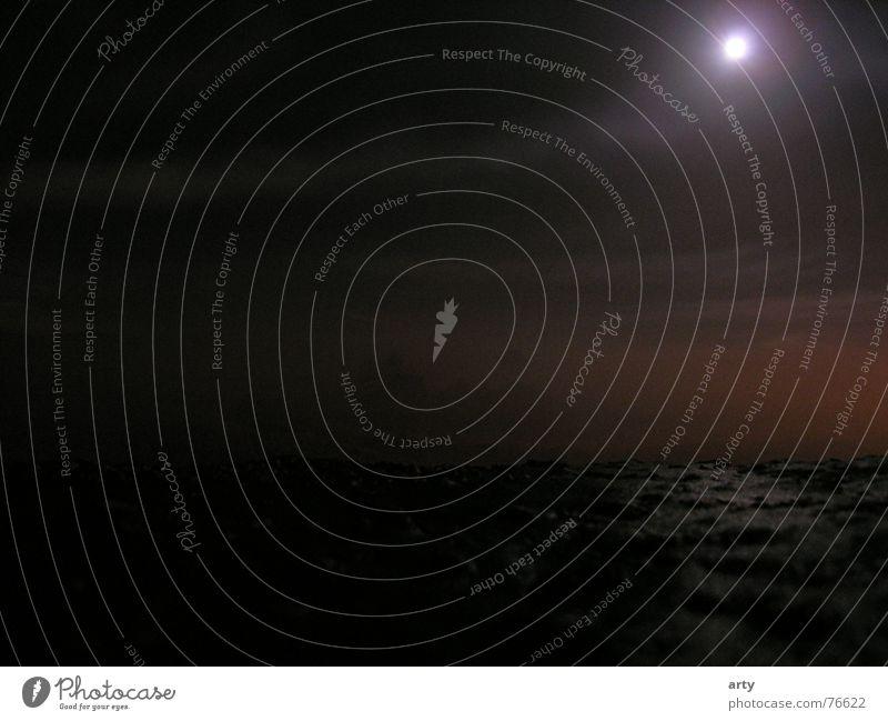 Vollmond über dem Deich Nacht Nebel mystisch Mond spooky