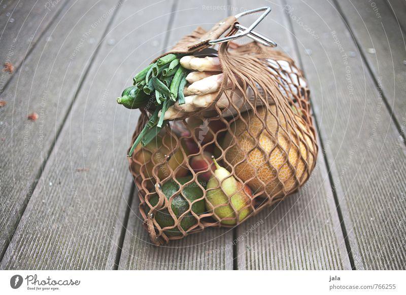 einkauf Lebensmittel Gemüse Frucht Melonen Spargel Birne Avocado Frühlingszwiebel Pfirsich Ernährung Bioprodukte Vegetarische Ernährung Einkaufstasche