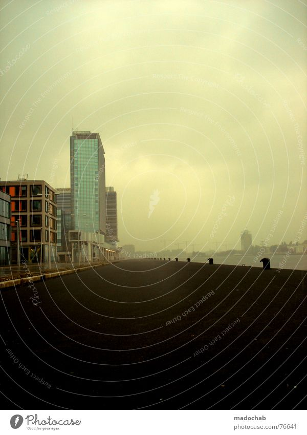 ROOM WITH A DIFFERENT VIEW | romantik sehnsucht fernweh Himmel Stadt blau weiß Wolken Haus Fenster Straße Leben Architektur Hintergrundbild Gebäude grau