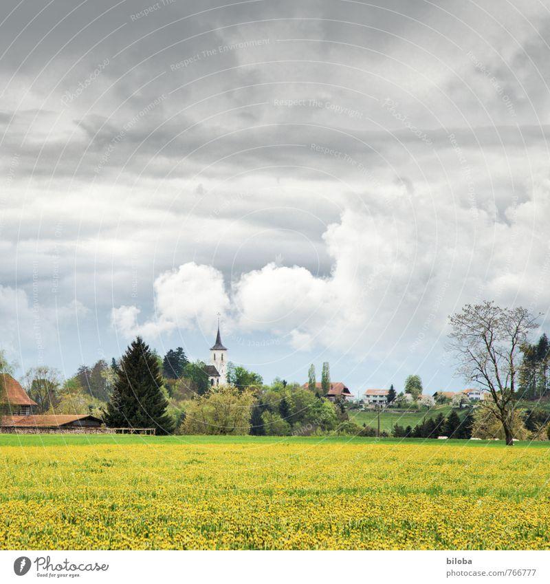 Wahlern Sommer Idylle Kirche Dorf Schweiz Wolkenhimmel
