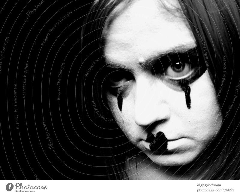 Schau mir in die Augen! Auge Mund Herz Lippen Schminke böse Halloween Kussmund Pantomime herzförmig Augenschminke