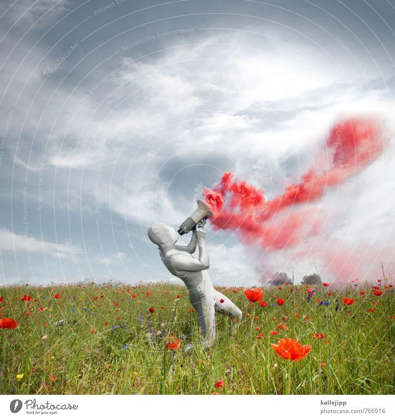 4400_schall und rauch Werbebranche Mensch maskulin Mann Erwachsene Körper 1 30-45 Jahre Kunst Umwelt Luft Kommunizieren sprechen rot silber Megaphon