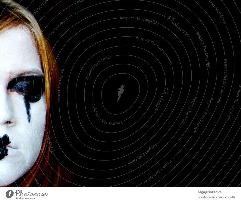 Abwesend weiß ruhig schwarz Herz schlafen Schminke Gedanke untergehen Schüchternheit Kussmund Denken Geistesabwesend geschminkt Pantomime herzförmig