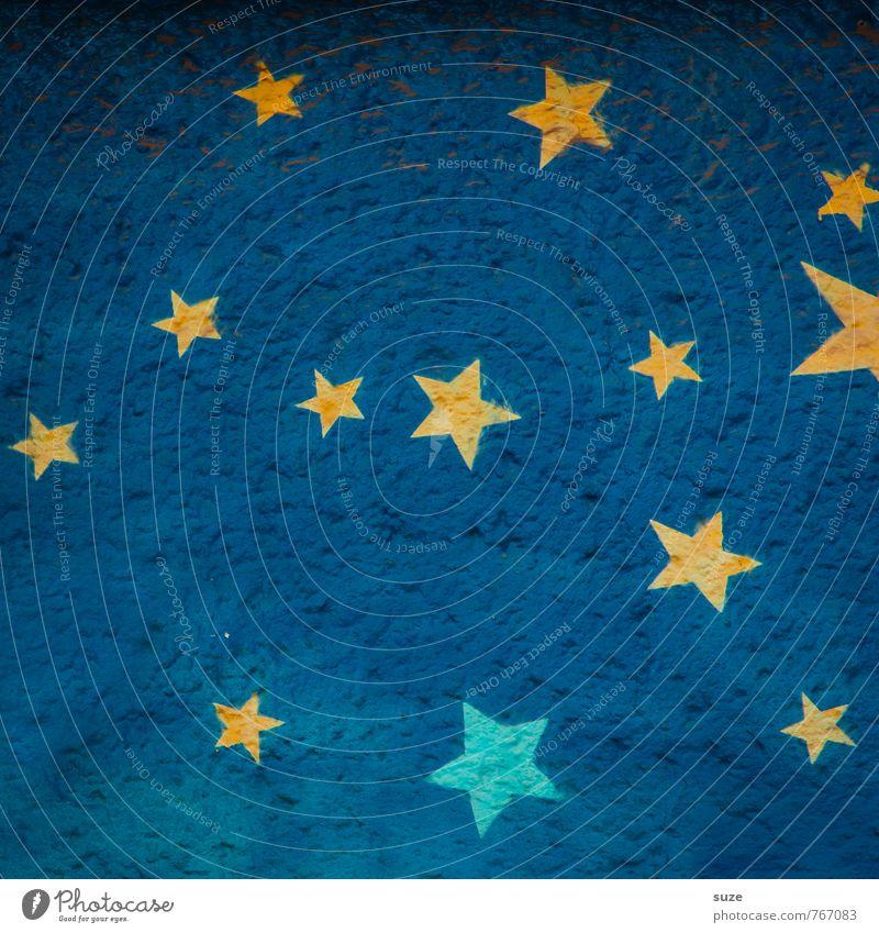 Sternenhimmel blau gelb Wand Graffiti Stil Hintergrundbild Mauer Lifestyle klein Kunst Fassade Design Dekoration & Verzierung Stern Stern (Symbol) Zeichen