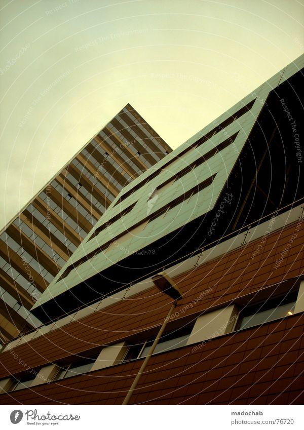 URBAN CUBISM | future zukunft architektur urban city stadt Himmel Wolken schlechtes Wetter himmlisch Götter Unendlichkeit Haus Hochhaus Gebäude Material Fenster