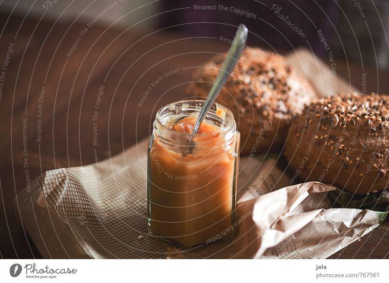 quittenmus Lebensmittel Teigwaren Backwaren Brötchen Marmelade Ernährung Frühstück Vegetarische Ernährung Löffel frisch lecker natürlich Holztisch Farbfoto