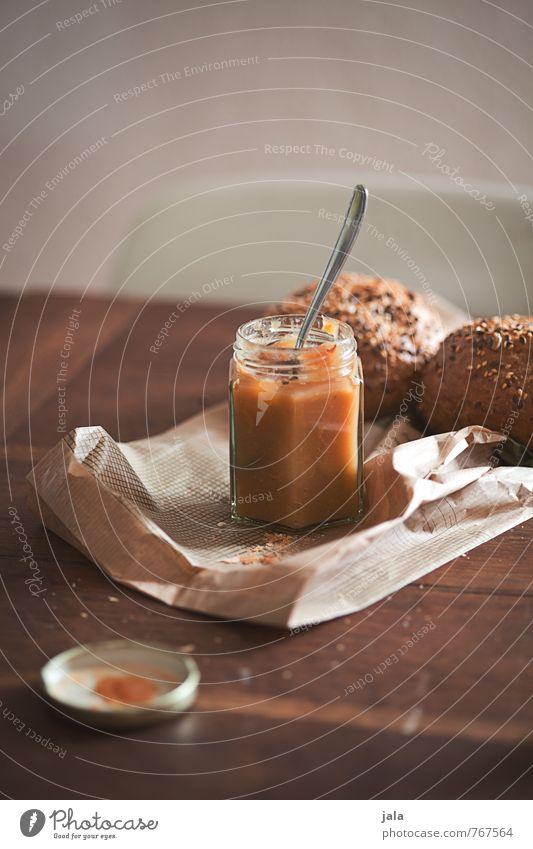 marmelade natürlich ästhetisch Ernährung Freundlichkeit gut lecker Appetit & Hunger Bioprodukte Frühstück Brötchen Tüte Vegetarische Ernährung Löffel Holztisch Marmelade Marmeladenglas