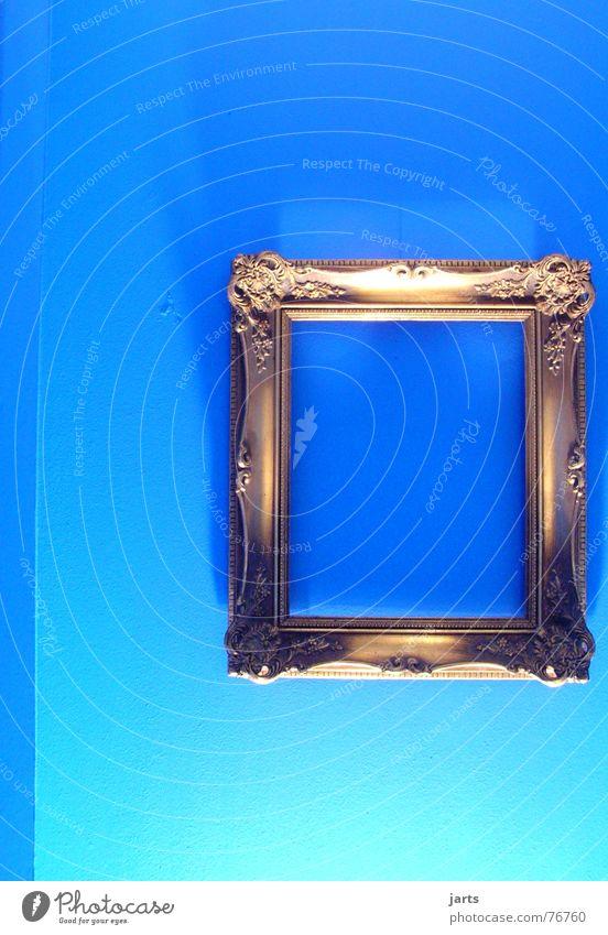 blue room II Bilderrahmen Wand Kunst Licht leer Kultur Häusliches Leben blau Rahmen alt gold Schatten Raum jarts