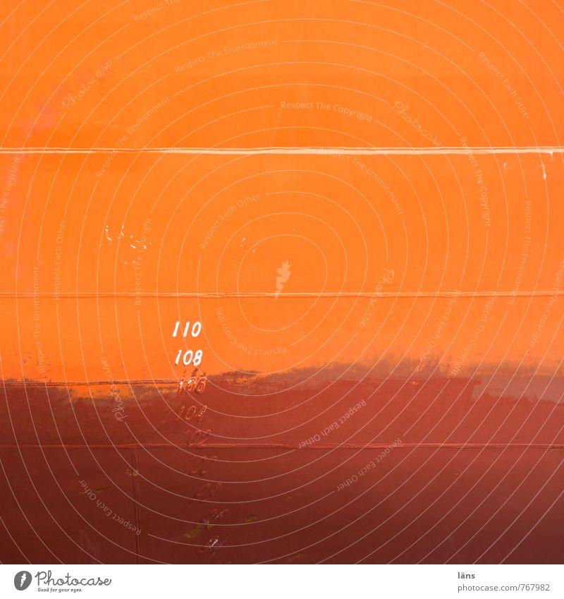 Markierung 110 Schifffahrt Containerschiff Wasserfahrzeug Stahl Schilder & Markierungen maritim braun orange Farbe Handel Konkurrenz Mobilität