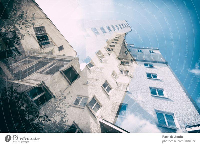 Hoch hinaus Umwelt Klima Wetter Stadt Hochhaus Industrieanlage Bauwerk Gebäude Architektur Fenster Stress Bewegung Partnerschaft Bildung bizarr Dekadenz