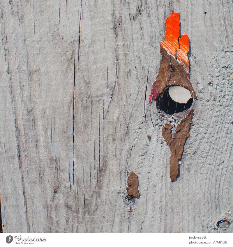 Auge, Kamm (Hahn) Subkultur Astloch Dekoration & Verzierung Holzbrett Farbrest einfach kaputt Vergänglichkeit Hahnenkamm Straßenkunst assoziativ Loch