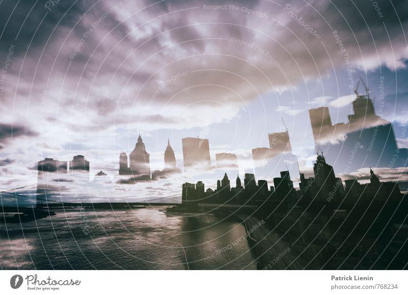 distorted reality Stadt Skyline bevölkert Haus Bankgebäude Bauwerk Gebäude Architektur Sehenswürdigkeit genießen außergewöhnlich bedrohlich verrückt Bewegung