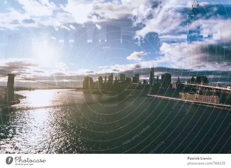 New York in the sky Stadt Skyline bevölkert Hochhaus Bankgebäude Brücke Bauwerk Gebäude Architektur Abenteuer Zufriedenheit bizarr Business einzigartig Energie