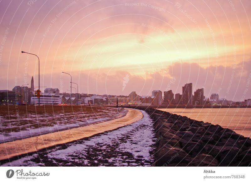 Skyline Wolken Sonnenaufgang Sonnenuntergang Reykjavík Island Hauptstadt Stadtzentrum Straße Wege & Pfade Stimmung Leidenschaft Verliebtheit schön Leben Energie