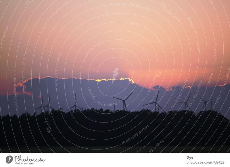 Energie in allen Variationen 3 Himmel Wolken Energiewirtschaft Wind Klima Elektrizität violett Windkraftanlage Skyline Umweltschutz nachhaltig Windrad