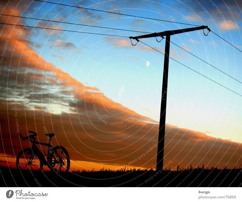 Gnade Natur Himmel Baum ruhig Wolken Einsamkeit Leben dunkel Erholung Herbst Berge u. Gebirge träumen Landschaft Fahrrad orange Horizont