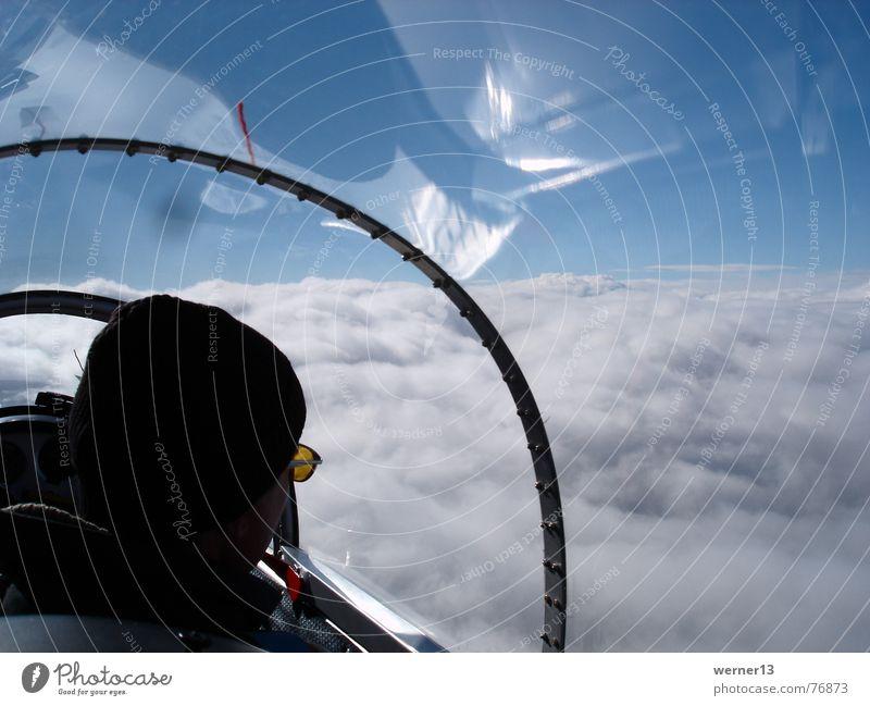 Segelfliegen in der Welle Wellen Wolken Horizont Blaník laminar