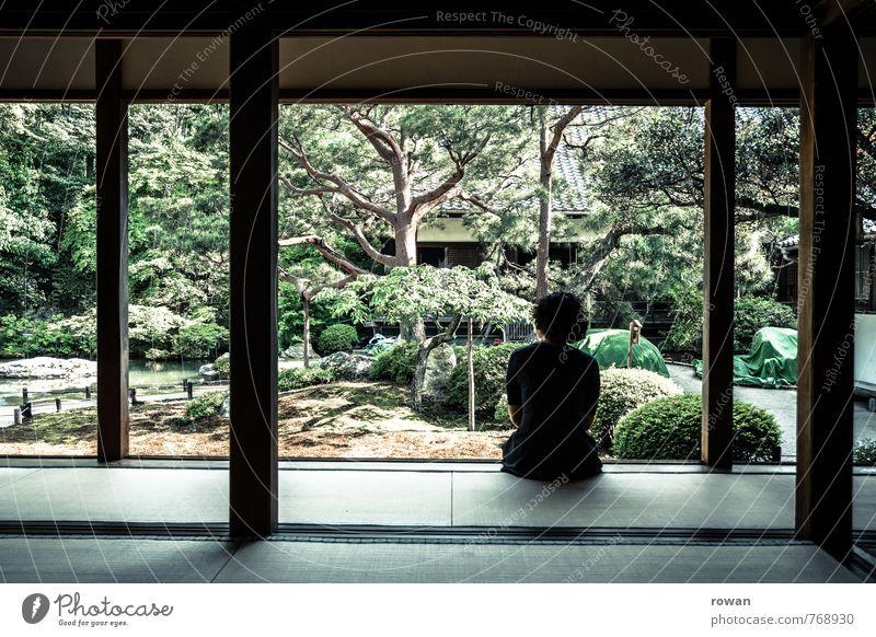 zen Mensch Frau Jugendliche Erholung Junge Frau ruhig Erwachsene Leben feminin Gesundheit Garten nachdenklich Zufriedenheit sitzen beobachten Wellness