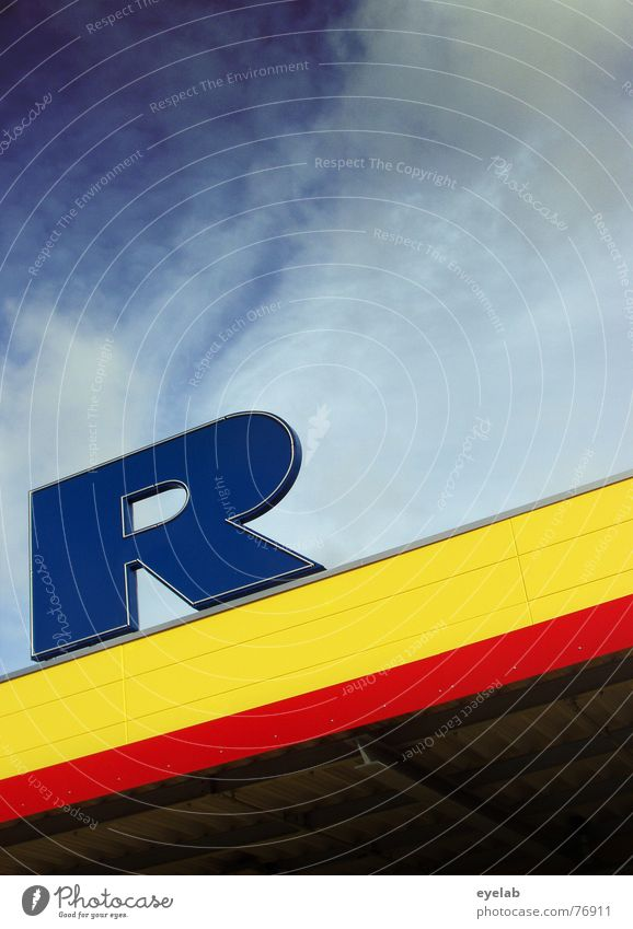 R Himmel blau rot Haus Wolken gelb Gebäude Luft Dach Buchstaben Ladengeschäft Top Typographie Lagerhalle Logo