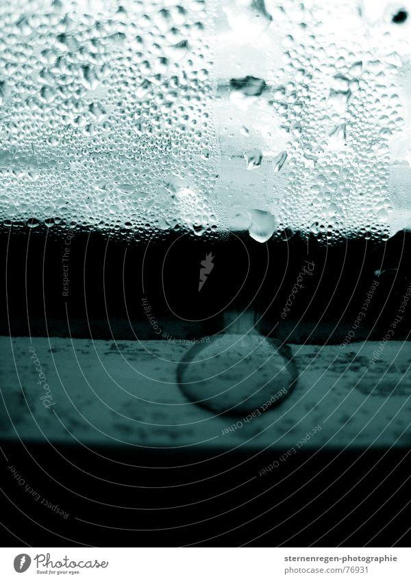 drops Wasser grün blau Winter Fenster Wassertropfen nass Seil