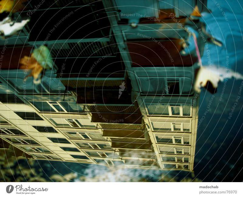 HERBST Pfütze wirklich Nebel nass Haus Hochhaus Gebäude Material Fenster live Block Beton Etage trist dunkel Leidenschaft Spiegel Vermieter Mieter Ghetto