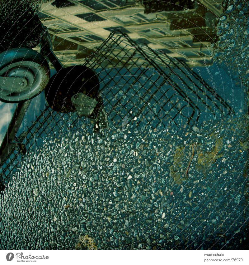 OPEN | einkaufswagen herbst romantik shopping konsum pfütze Pfütze wirklich Nebel nass Haus Hochhaus Gebäude Material Fenster live Block Beton Etage trist