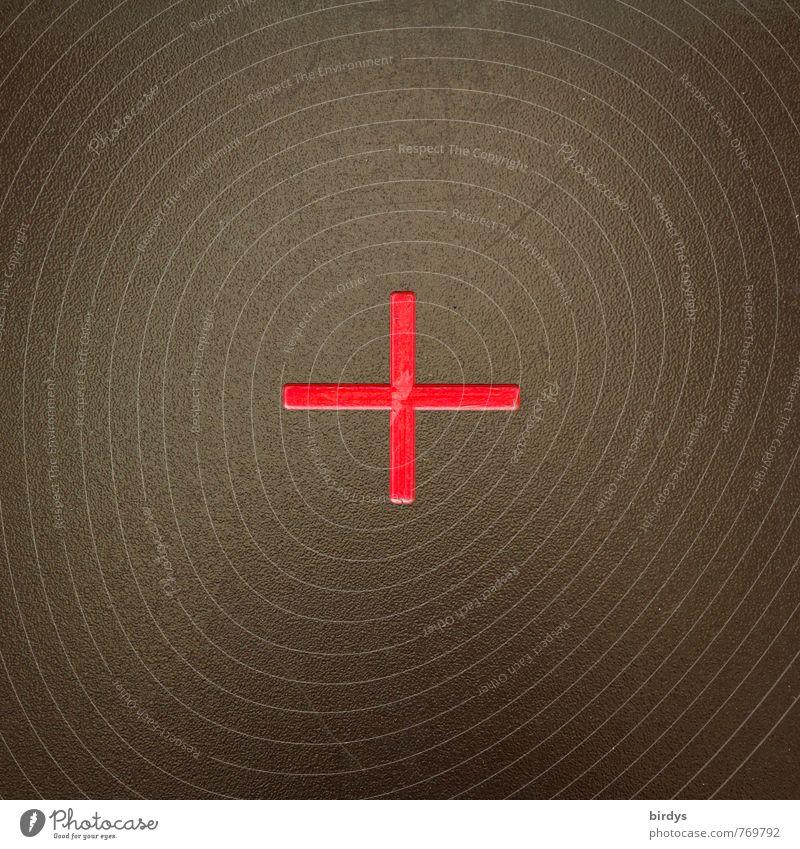 + Metall Zeichen Kreuz ästhetisch einfach positiv braun grün rot ruhig Genauigkeit Symmetrie Ziel Mitte Plus 1 Symbole & Metaphern Mathematik Farbfoto
