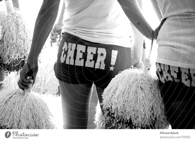 Cheer! Frau weiß schwarz Hinterteil Applaus Quaste Cheerleader