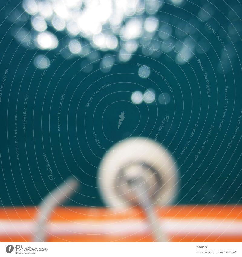 Bitte nicht mit Brille springen! Ferien & Urlaub & Reisen blau weiß Wasser Sommer Sonne Meer Freude Schwimmen & Baden Wasserfahrzeug Freizeit & Hobby orange