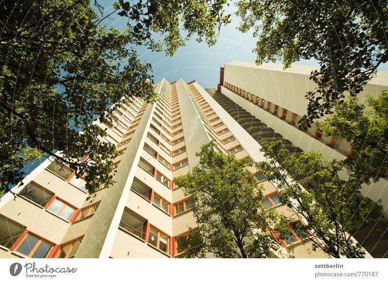 Wohnhochhaus Himmel Stadt Baum Haus Fenster Architektur Wohnung Fassade Häusliches Leben Hochhaus Ecke Ast Textfreiraum Baustelle Bauwerk