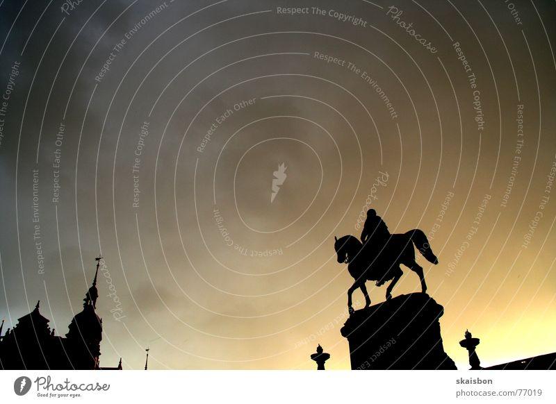cooler auftritt Himmel Stadt Wolken Architektur Religion & Glaube Kunst Deutschland Wetter gold Rücken Brand stehen Pferd Dresden Statue Wohnzimmer