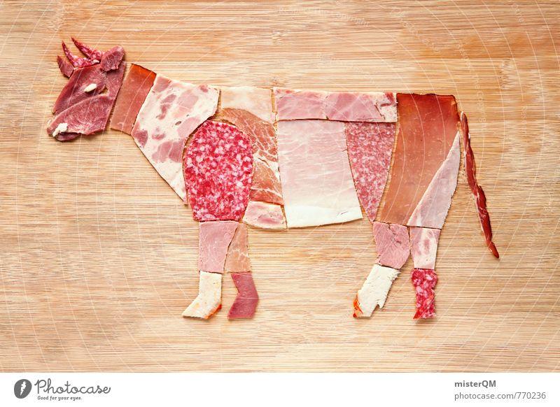 Wurstfreund. Rudi Rind. Kunst ästhetisch Wurstwaren Wurstherstellung Collage Kunstwerk ökologisch Bioprodukte Rindfleisch Rinderhaltung Rinderfilet Rinderbraten