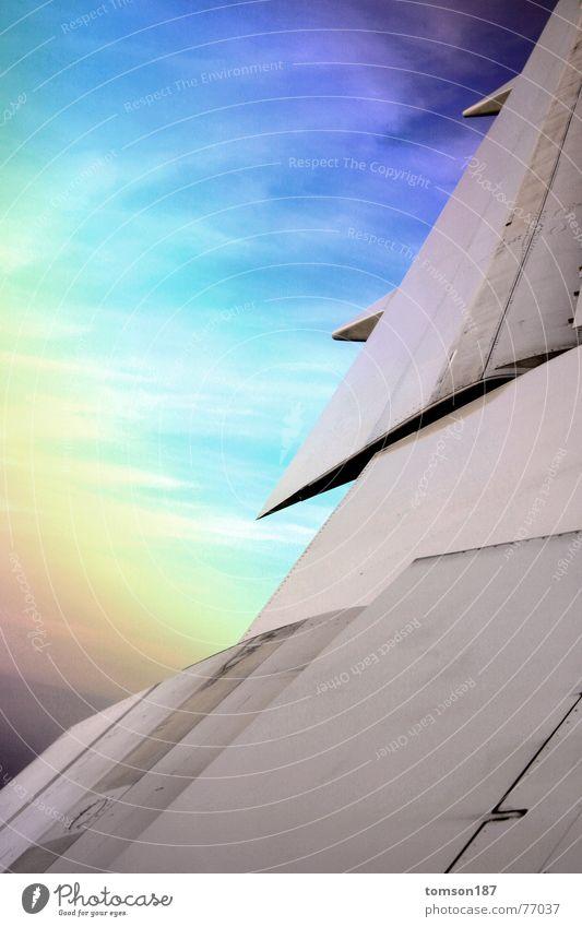 rainbow airways Himmel Ferien & Urlaub & Reisen Farbe Luft Flugzeug Luftverkehr Niveau Flügel Geometrie Regenbogen Höhenflug