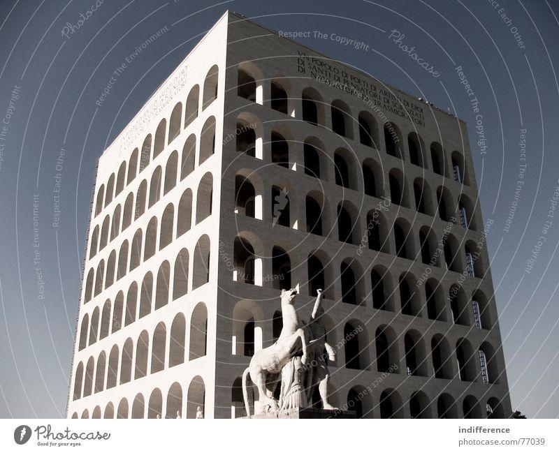 Palazzo della Civiltà Italiana *two* Rom Italien Denkmal building palace arcs marble historical Euro neoclassic architecture sculpture horse man