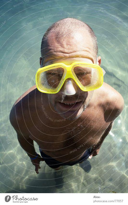 Gert der Meerjungmann tauchen Taucher tief See flach Ferien & Urlaub & Reisen Sommer Mann groß klein Schnorcheln Glatze Wasser sea Glas gert gerd alt bif
