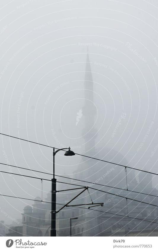 Technology | Tradition looms behind Ferien & Urlaub & Reisen blau Stadt schwarz dunkel kalt grau Religion & Glaube Nebel Tourismus bedrohlich Turm Wandel & Veränderung Macht geheimnisvoll Straßenbeleuchtung