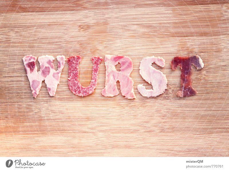 Wurst. Kunst Kunstwerk ästhetisch innovativ Kitsch Wurstwaren Wurstherstellung Buchstaben lecker Foodfotografie Speise Salami Schinken Schneidebrett Vesper