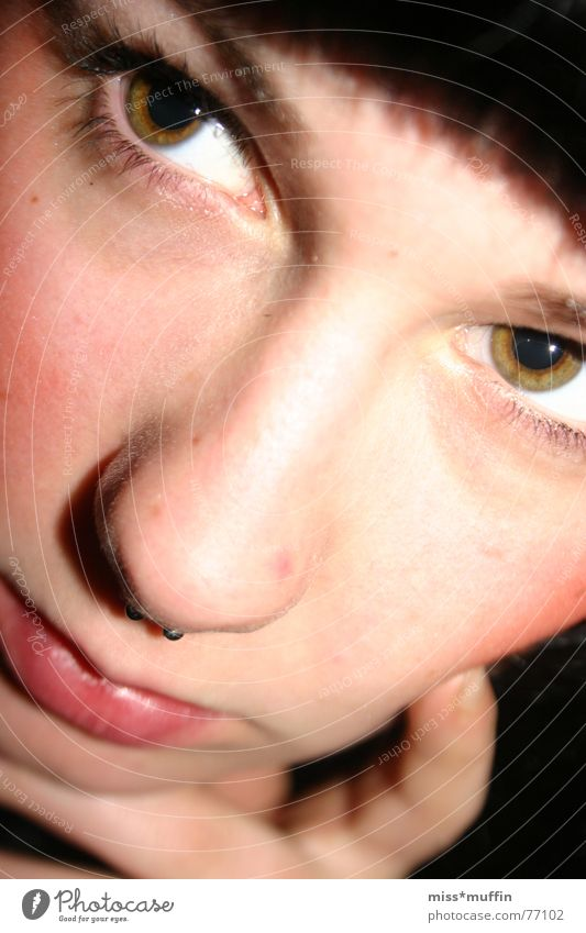 Dreamin' Frau Gesicht Auge träumen Nase nah