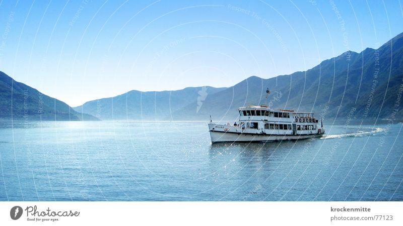 maggiore Wasser blau Sommer Ferien & Urlaub & Reisen ruhig Erholung Berge u. Gebirge See Wasserfahrzeug Tourismus Schweiz Bergkette Kanton Tessin Lago Maggiore